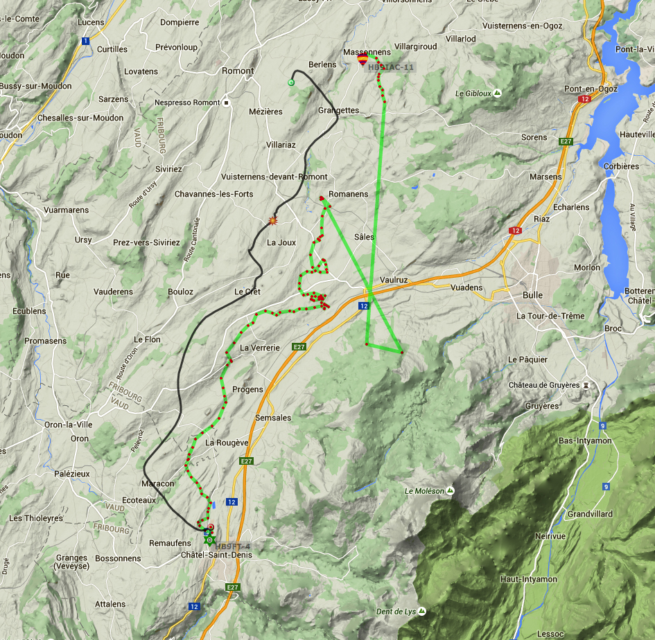 Superposition des tracés Prédiction (noir) VS Réel (vert). Distance entre le point de chute théorique et réel: 2.8km! Les 2 points du tracé réel (en vert) qui donnent dans le préalpes sont dû à la perte du signal GPS suivant l'éclatement du ballon.